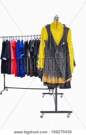 Set of female clothing ,sundress ,coat on hanging