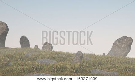 3d illustration of the grassy terrain with stones
