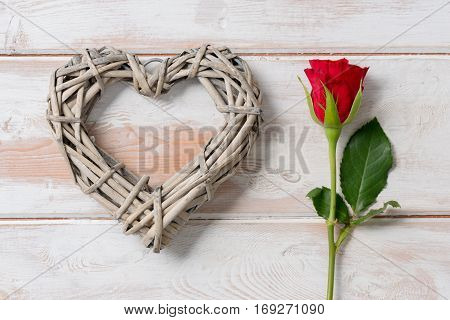 Heart And Rose On Wooden Panel