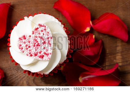 Closeup Of Valentine's Day Cupcake And Rose Petals