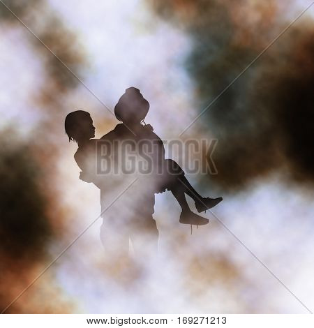 Vector illustration of firefighter rescuing a girl from a fire created using a gradient mesh