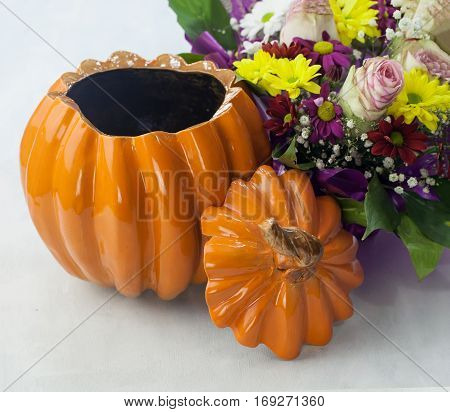 Clay Pot In The Shape Of A Pumpkin