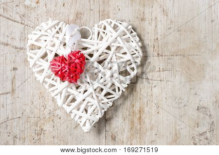 Small Red Wicker Heart On Big White Heart Copy Space