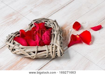 Wicker Rattan Heart Filled With Rose Petals