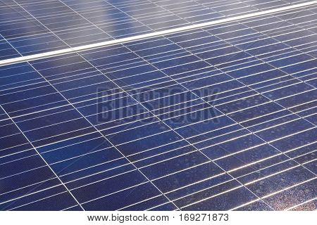 Solar Power or Solar Cell, Blue and white texture of a solar panel