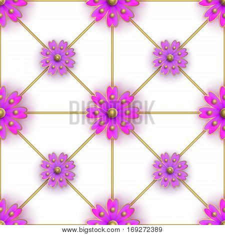 Floral seamless pattern for fabrics, textiles, wallpaper, paper. Vector. Violet stylized flowers on golden greed.