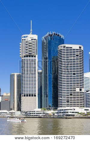 View of skyscrapers in Brisbane CBD in daytime