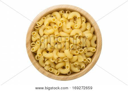 Top view of uncooked macaroni pasta in wooden bowl isolated on white background with clipping path