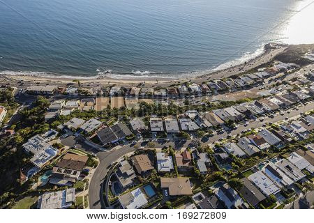 Aerial of ocean view Los Angeles homes in Pacific Palisades.