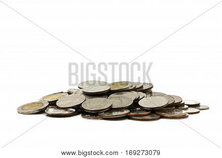 A pile of coins on white background