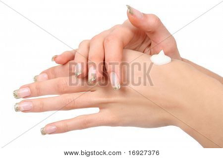woman caring for her hands