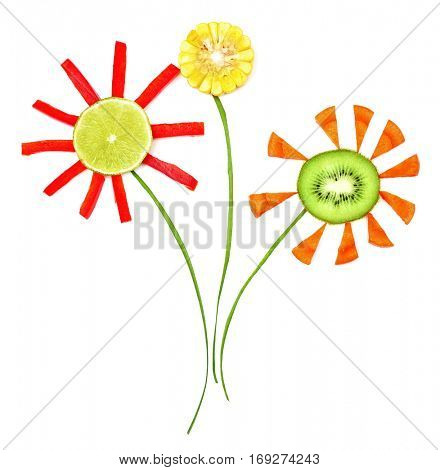 Flowers made of fruits and vegetables isolated on white