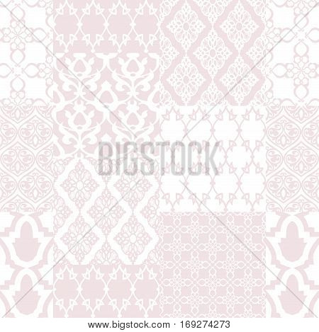 Seamless with oriental motif. Pink patchwork background. Set of pattern with filigree ornaments. Vector illustration.