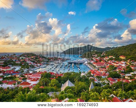 Saint Barthelemy skyline and harbor in the West Indies.