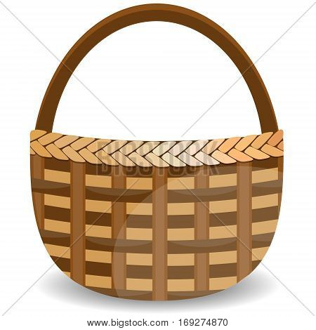 Wicker basket isolated on white photo-realistic vector illustration. Traditional country style willow peasant basket with handle close-up side view with shadow realistic vector illustration