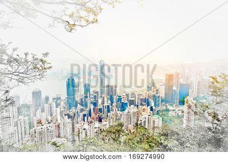 Asia Business concept for real estate - panoramic modern cityscape building bird eye aerial view under sunrise and morning blue bright sky in Hong Kong (HK) China. Mix hand drawn sketch illustration