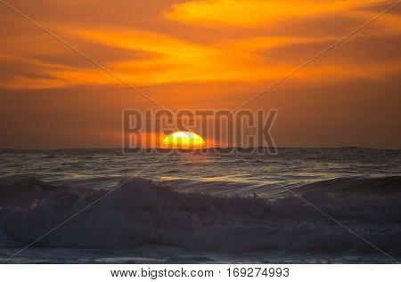 The coast of Atlantic ocean on sunset Canary islands Spain