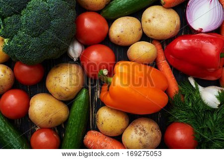 Overhead shot of different vegetables isolated over white flat layout. Copy space. High resolution product