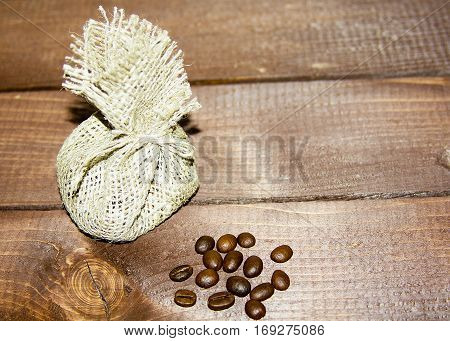 coffee beans in burlap and coffee beans for coffee machines