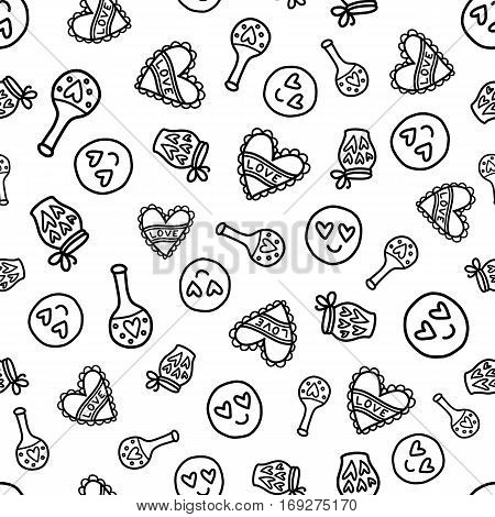 Doodles cute seamless pattern. Black vector background. Illustration with hearts and love potion. Design for T-shirt, textile and prints. Valentines day theme