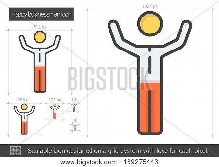 Happy businessman vector line icon isolated on white background. Happy businessman line icon for infographic, website or app. Scalable icon designed on a grid system.