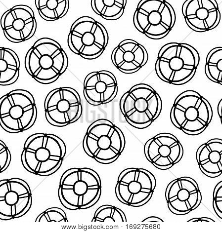 Doodles cute seamless pattern. Black vector background. Illustration with lifebuoy. Design for T-shirt, textile and prints.