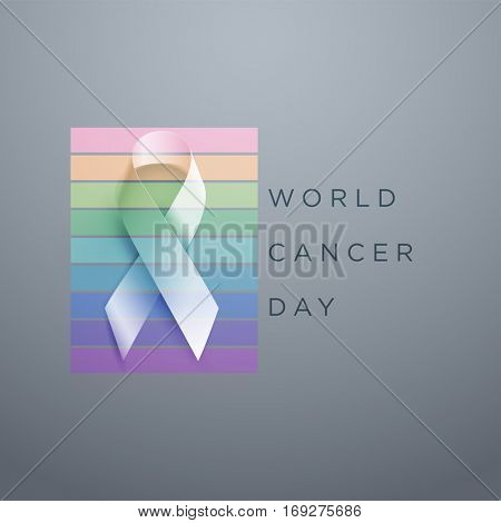 World Cancer Day. Vector awareness ribbon illustration.