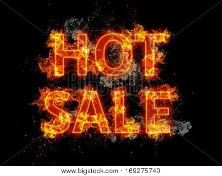 Blazing Hot Sale design template with flaming fiery orange letters and incendiary sparks on a black background for promotional advertising
