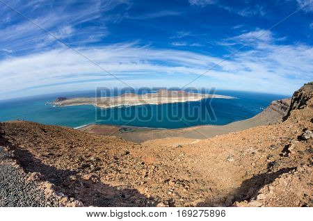 View of Graciosa Island from Mirador del Rio Lanzarote Island Canary Islands Spain