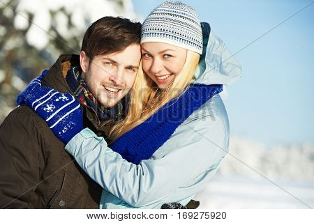 people in winter. young smiling couple