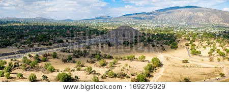High resolution panoramic view of the Pyramid of the Moon and the Avenue of the Dead at Teotihuacan from the top of the Pyramid of the Sun