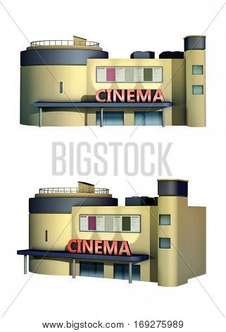 Rendering of a cinema building. 3D illustration.
