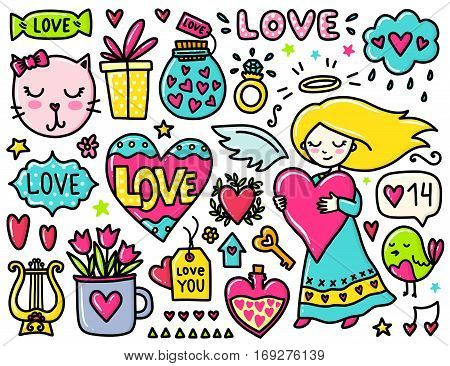 Doodles cute elements. Color vector items. Illustration with hearts and flowers, cat and bird, cloud and girl. Design for prints and cards. Valentines day theme.