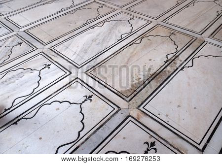 DELHI, INDIA - FEBRUARY 13: Pattern of marble floor in Jama Masjid Mosque on February 13, 2016, Delhi, India.