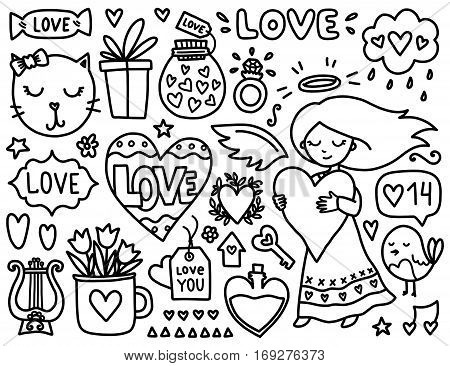 Doodles cute elements. Black vector items. Illustration with hearts and flowers, cat and bird, cloud and girl. Design for prints, cards and coloring page. Valentines day theme.