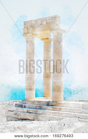 Famous Greek temple pillar against clear blue sky and sea in Lindos Acropolis Rhodes Athena Temple Greece. Mix hand drawn sketch illustration