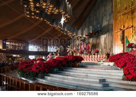 MEXICO CITY,MEXICO - DECEMBER 26,2016 : The Altar at the Basilica of Our Lady of Guadalupe in Mexico City