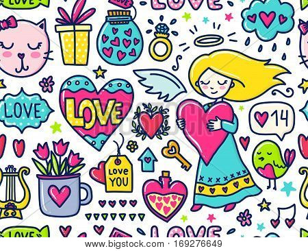 Doodles cute seamless pattern. Color vector background. Illustration with hearts and flowers, cat and bird, cloud and girl. Design for prints and cards. Valentines day theme.