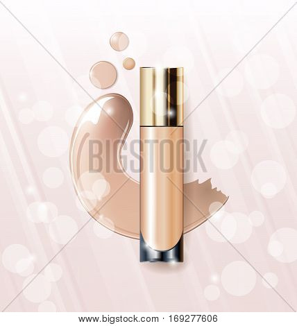 Cosmetic product, Foundation, concealer, cream. Cosmetic product, concealer, corrector, cream. Beauty and cosmetics background Use for advertising flyer banner leafletTemplate Vector