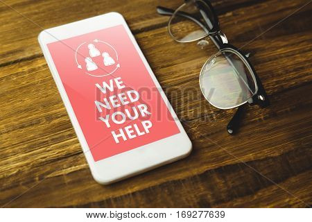 We need your help against high angle view of cellphone and eyeglasses