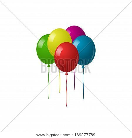 Collection of colorful balloons. Colorful helium balloons isolated on white background