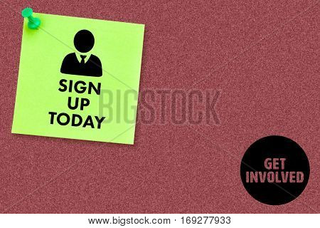 Sign up today against illustrative image of pushpin on green paper