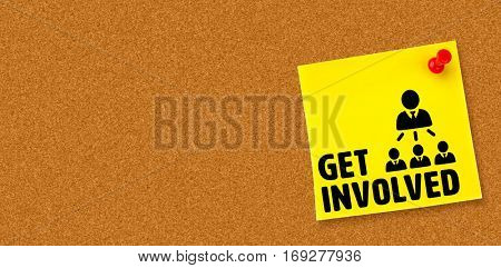 Get involved against digital image of pushpin on yellow paper