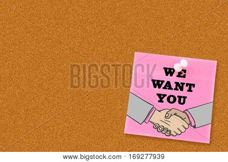 We want you against digital image of pushpin on pink paper