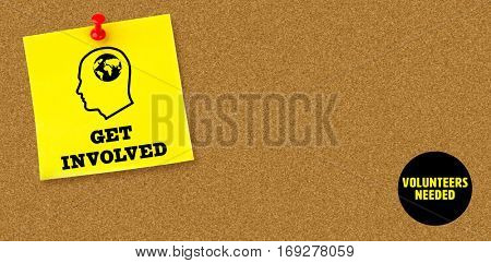 Get involved against illustrative image of pushpin on yellow paper