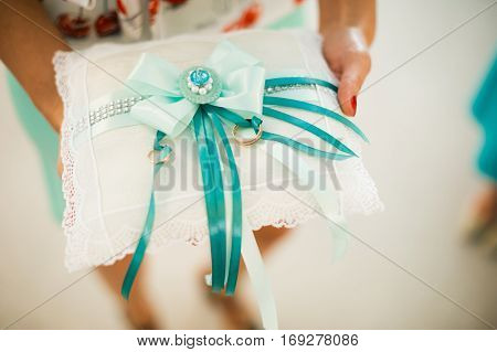 Photo Of Wedding Rings On A Background Of Wedding Attributes