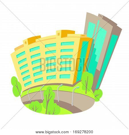 Vector flat illustration of buildings in the city. New modern multistory construction. Bright Isolated Houses in cartoon style with a piece street.