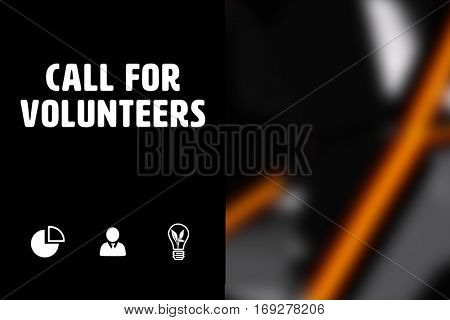Call for volunteers against black angular design
