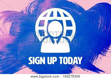 Sign up today against pink background