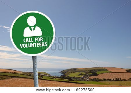 Call for volunteers against fields backgrounds